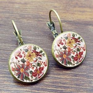 Antique bronze floral cabochon drop earrings NEW